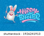smiling easter bunny with paint ... | Shutterstock .eps vector #1926241913