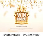 win prize gift box with golden...   Shutterstock .eps vector #1926254909