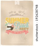 vintage  retro summer beach... | Shutterstock .eps vector #192628748