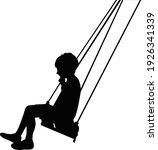 A Boy Swinging Body Silhouette...