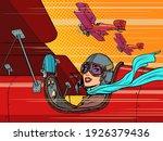 female retro pilot. aviation... | Shutterstock .eps vector #1926379436