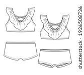 girls frill bikini fashion flat ... | Shutterstock .eps vector #1926508736