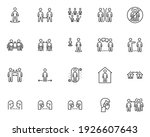 social distancing line icons...   Shutterstock .eps vector #1926607643