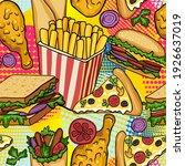 fast food vector seamless...   Shutterstock .eps vector #1926637019