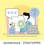 student in tablet elearning... | Shutterstock .eps vector #1926725990