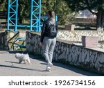 A Young Girl Walks Her Puppy On ...