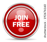 join free red glossy icon | Shutterstock . vector #192676160