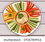 a plate of vegetables with...   Shutterstock .eps vector #1926784916