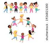 kids holding hands. happy... | Shutterstock .eps vector #1926821300