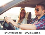 happy young couple in the car. | Shutterstock . vector #192682856