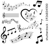 sheet music icon vector set.... | Shutterstock .eps vector #1926834500