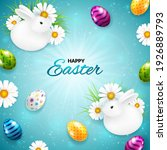 easter greeting card with cute... | Shutterstock .eps vector #1926889793