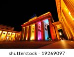 Brandenburg Gate colorful illuminated, Berlin, Germany - stock photo