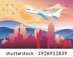 airplane fly over city. travel... | Shutterstock .eps vector #1926912839