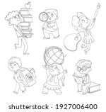 back to school. little children ... | Shutterstock .eps vector #1927006400