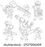 back to school. little children ... | Shutterstock .eps vector #1927006409