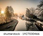 Canal Narrow River Boats At...
