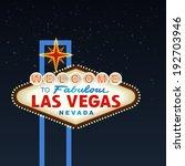 Night Las Vegas Sign. Vector