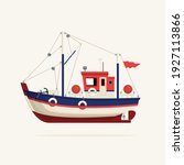 color image of a fishing vessel ... | Shutterstock .eps vector #1927113866