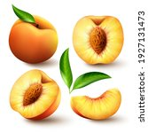 set of realistic ripe peaches...   Shutterstock .eps vector #1927131473