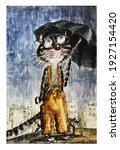 Cute City Cat On A Rainy Summer ...