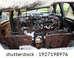 The Interior Of Burnt Out Car....