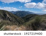 View towards Mt Wilson from Mt Lukens Truck Trail fire road in the San Gabriel Mountains near Los Angeles and La Canada California.