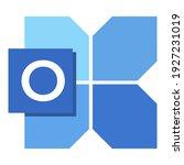 icon font o with blue shape...