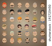 Cartoon Faces Set - Isolated On Brown Background, Vector Illustration, Graphic Design Editable For Your Design