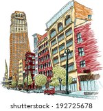 avenue,background,building,cartoon,church,day,detroit,downtown,exterior,illustration,main,michigan,office,outdoor,skyline