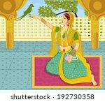 queen with parrot in indian art ... | Shutterstock .eps vector #192730358