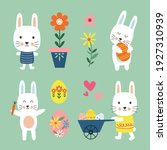 cute easter bunny sets and egg  ... | Shutterstock .eps vector #1927310939