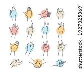 set of various hand gestures...   Shutterstock .eps vector #1927325369