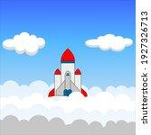 space rocket flying in sky ... | Shutterstock .eps vector #1927326713
