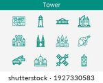 premium set of tower line icons.... | Shutterstock .eps vector #1927330583
