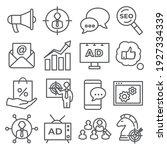 advertising line icons on white ... | Shutterstock .eps vector #1927334339