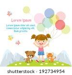 happy girl with balloons | Shutterstock .eps vector #192734954