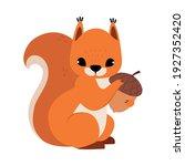 Red Fluffy Squirrel With Bushy...