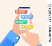 online chat messages text... | Shutterstock .eps vector #1927357670