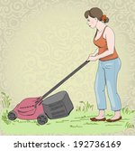 young woman mowing the lawn... | Shutterstock .eps vector #192736169