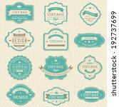 Stock vector blue vintage and retro badges label tag background design in pastel color with sample text for 192737699