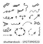 vector set of hand drawn arrows ... | Shutterstock .eps vector #1927390523
