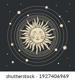 magic boho card of the sun.... | Shutterstock .eps vector #1927406969