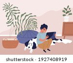 boy using tablet pc and surfing ... | Shutterstock .eps vector #1927408919