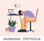 man tired of hard working ... | Shutterstock .eps vector #1927413116
