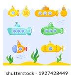 set of cartoon submarines on... | Shutterstock .eps vector #1927428449