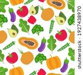 vegetable seamless pattern.... | Shutterstock .eps vector #1927438970