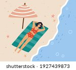 top view of young woman... | Shutterstock .eps vector #1927439873