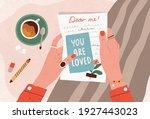 female hands holding postcard... | Shutterstock .eps vector #1927443023