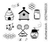 bees set cute honey clipart...   Shutterstock .eps vector #1927460213